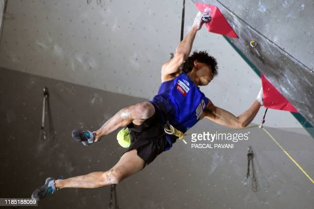 Japanese Kokoro Fujii competes in the Boulder qualification event during the Olympic Climbing Tournament ahead of the Tokyo 2020 Summer Olympics in...