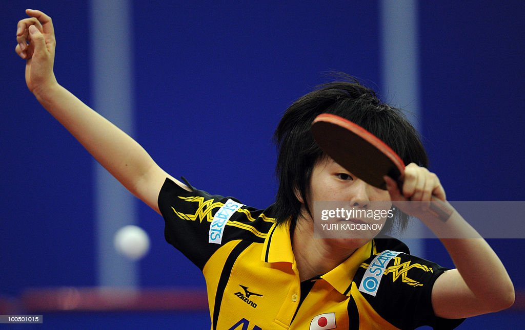 Japanese Kusumi Ishikawa returns a service to Taiwanese Chen Szu-Yu on May 25, 2010 during their women's team group D match at the 2010 World Team Table Tennis Championships in Moscow.