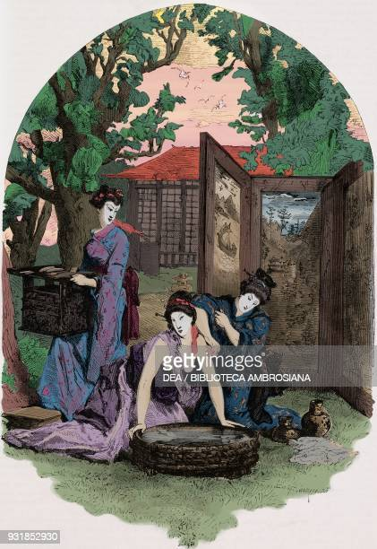 Japanese lady being bathed drawing by Morin from a report by Lord Elgin from Travels in China and Japan by the Marquis Alfred de Moges from Il Giro...
