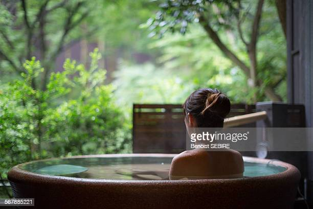 japanese lady in onsen - hot spring stock pictures, royalty-free photos & images