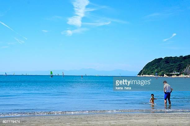 japanese landscape, zushi beach in japan kanagawa - zushi kanagawa stock photos and pictures