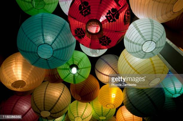 japanese lanterns - chinese lantern lily stock pictures, royalty-free photos & images
