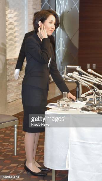 Japanese lawmaker Mayuko Toyota attends a press conference in her electoral constituency in Saitama Prefecture near Tokyo on Sept 18 following a...
