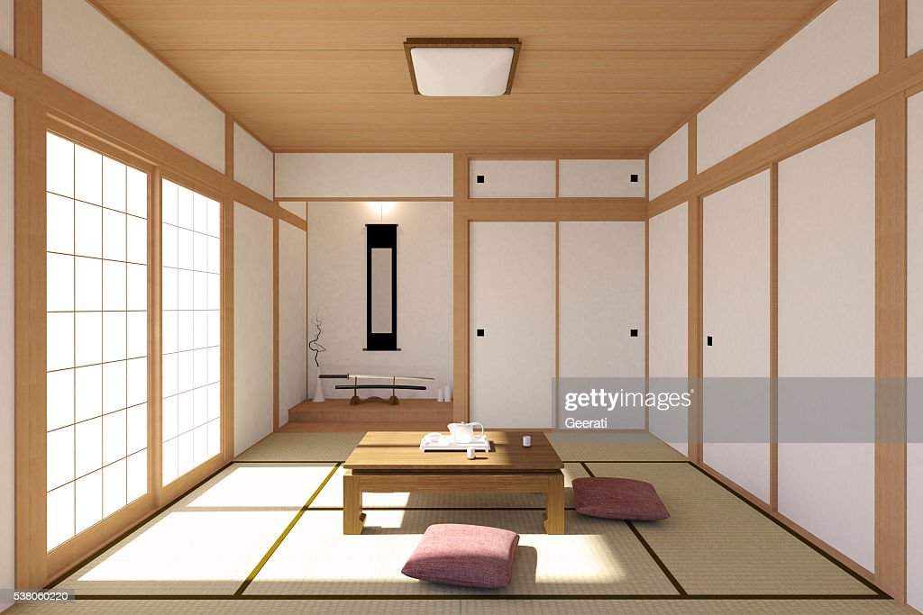 Japanese living room interior in traditional and minimal design : Stock Photo