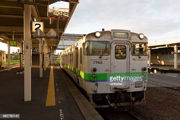 japanese local train in oiwake station - gunma prefecture stock photos and pictures