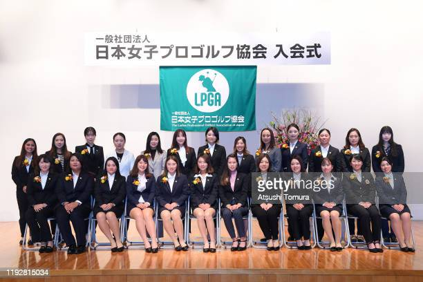 Japanese LPGA 2019 New members pose for photo session during the LPGA New Members Welcome Ceremony at X-wave Fuchu on December 09, 2019 in Fuchu,...
