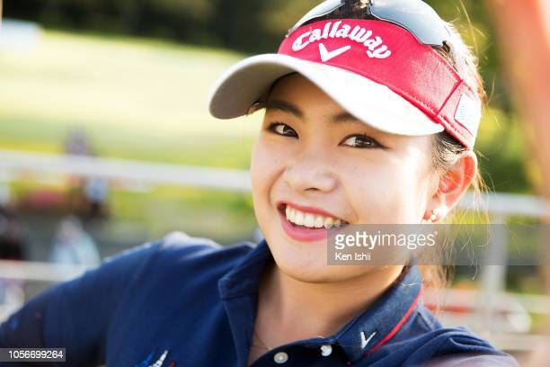 Japanese LPGA Step Up Tour 2018 prize money winner Yui Kawamoto poses for photographs after the final round of the Kyoto Ladies Open at Joyo Country...
