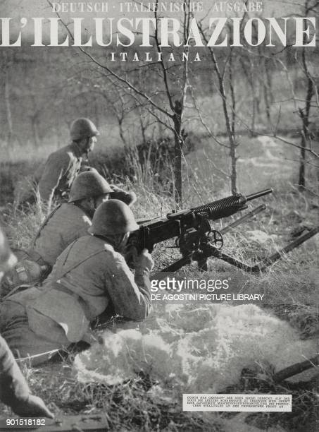 Japanese machine gunners attacking the enemy on the Chinese front, World War II, from L'Illustrazione Italiana, Year LXVIII, 1941.