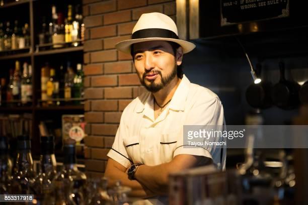 Japanese male bartender