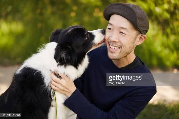 日本人男性とボーダーコリーは屋外でリラックスしました。 - 35 39歳 ストックフォトと画像