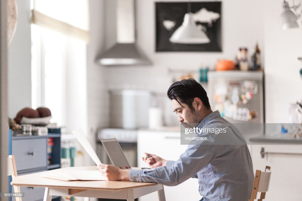 Japanese home office Self Employed Japanese Man At Home Office Stock Photo White House Japanese Man At Home Office Stock Photo Getty Images