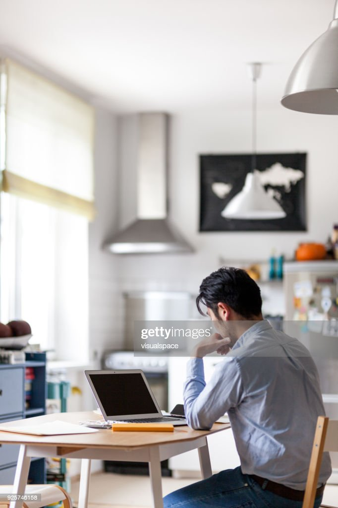 japanese home office. Japanese Man Does Finance At Home Office : Stock Photo R