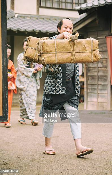 japanese man in edo period town - topknot stock pictures, royalty-free photos & images