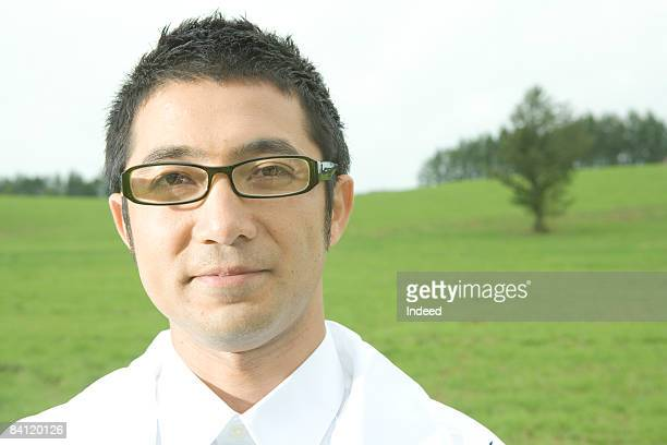 Japanese man in field