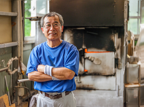 Japanese Man in Glass Blowing Factory - gettyimageskorea