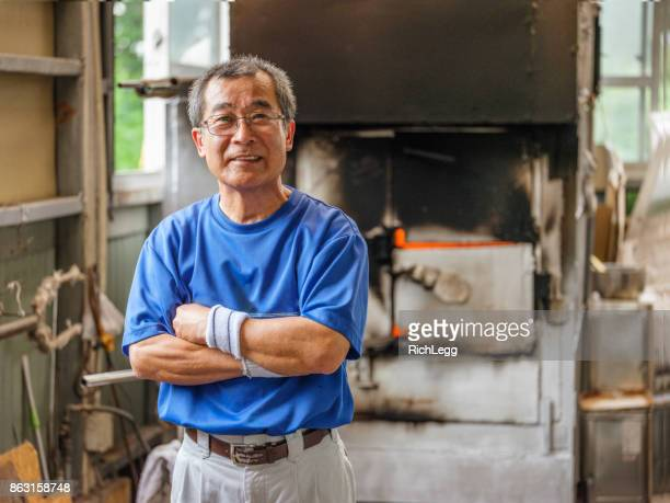 Japanese Man in Glass Blowing Factory