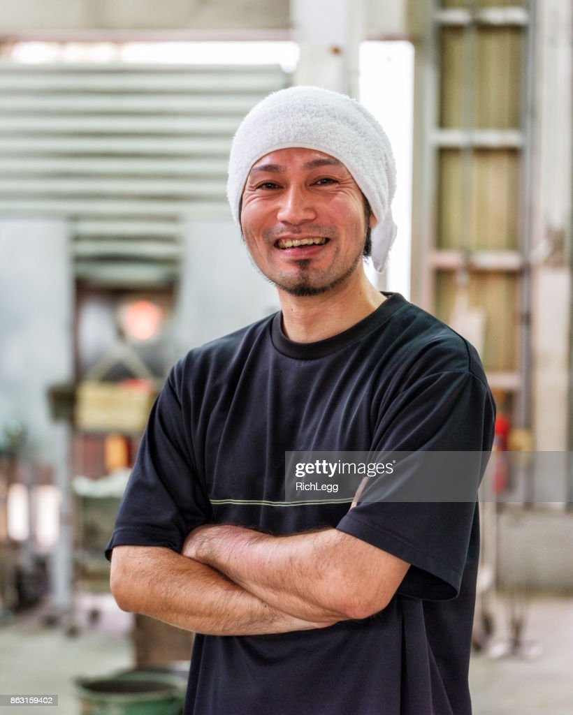 Japanese Man in Glass Blowing Factory : Stock Photo