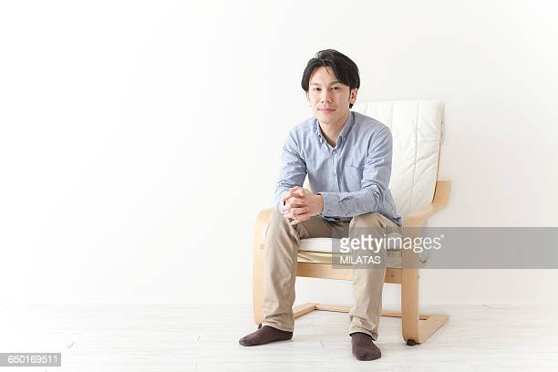 Japanese man relax in the chair