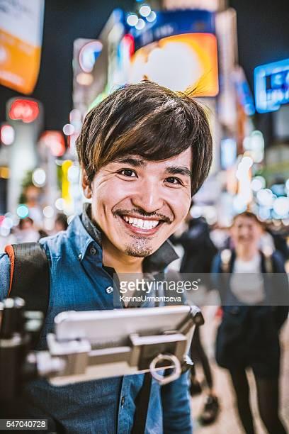 Japanese man walking on the street