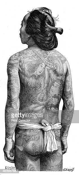 Japanese man with a tattooed back 1895 From The Universal Geography with Illustrations and Maps division XIV written by Elisee Reclus and published...