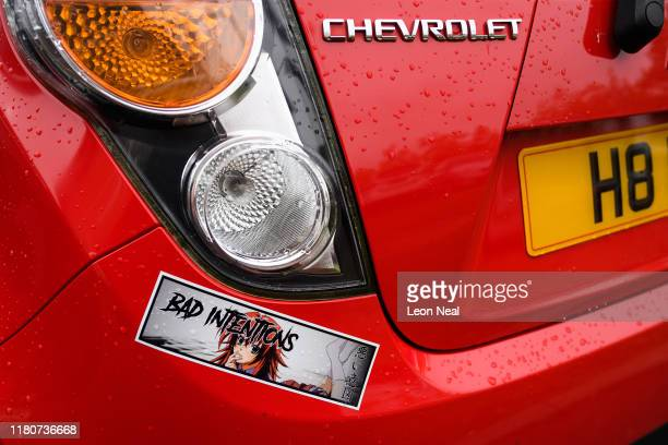 Japanese manga decals are seen on a car in the carpark outside the epicLAN esport tournament at the Kettering Conference Centre on October 12 2019 in...