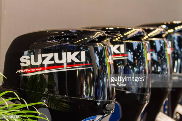 Japanese manufacturer Suzuki displays it's latest outboard engines at boot Dusseldorf 2018 on January 20 2018 in Dusseldorf Germany boot Dusseldorf...