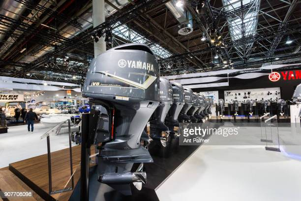 Japanese manufacturer Yamaha displays it's latest outboard engines at boot Dusseldorf 2018 on January 20 2018 in Dusseldorf Germany boot Dusseldorf...