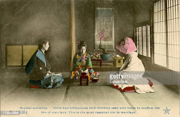 Japanese marriage ceremony in the late Meijiera Caption reads 'Nuptual ceremony Bridge and bridegroom each drinking sake nine times to confrim the...