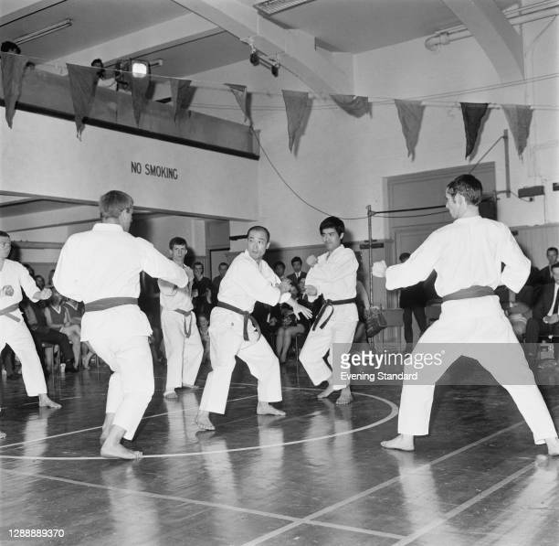 Japanese martial artist Tatsuo Suzuki with his students, UK, July 1967.