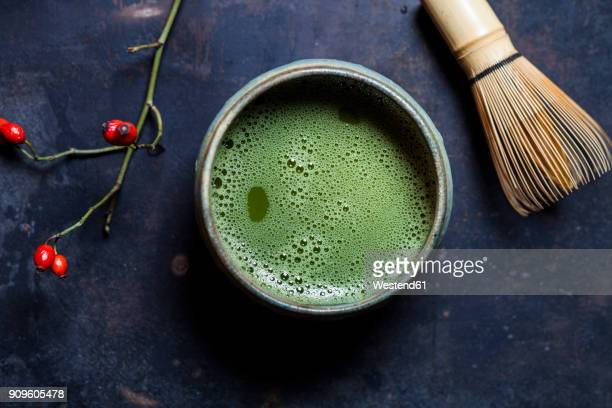 Japanese Matcha in Bowl with Matcha-whisk