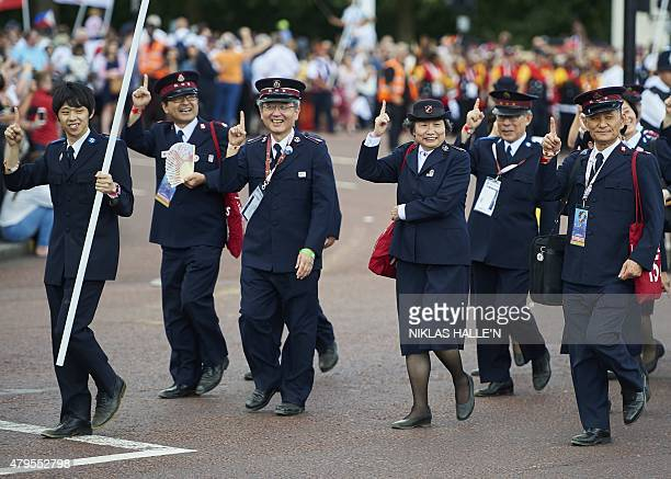 Japanese members of the Salvation Army take part in a march to celebrate the 150th anniversary of the Salvation Army on July 5 2015 in central London...