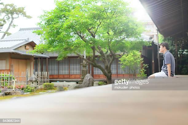 Japanese men and Japanese garden