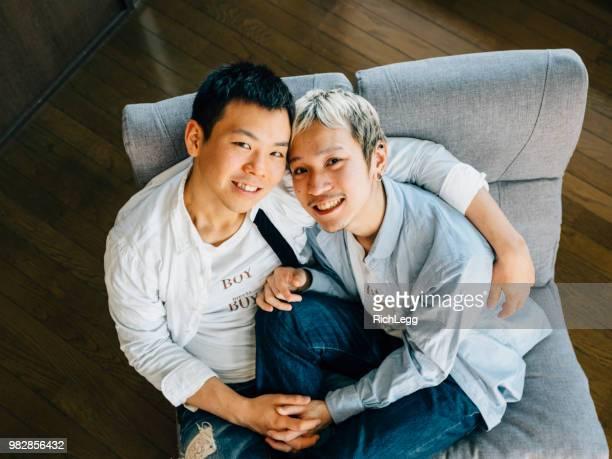 日本人ゲイカップル - ゲイ ストックフォトと画像