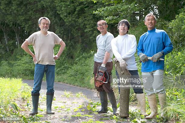 Japanese Men Neighbours Resting After Clearing Tree from Rural Road