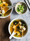 japanese miso soup with oyster mushrooms