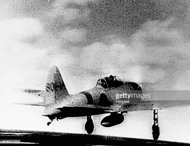 A Japanese Mitsubishi A6M ZeroSen fighter aircraft takes off to participate in the Battle of Midway Pacific Ocean[] 1942