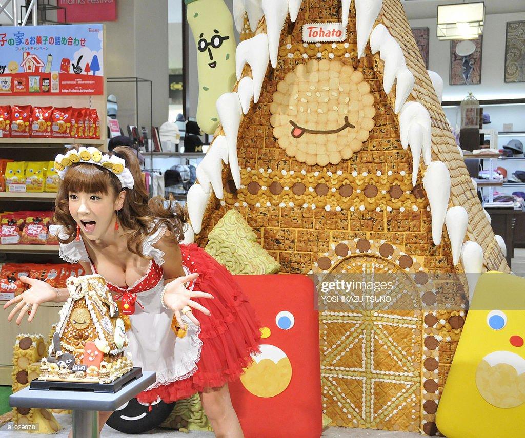 Aki Hoshino japanese model aki hoshino displays a small replica and the
