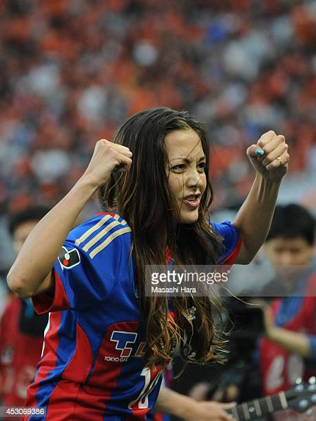 Japanese modelAnna Tsuchiya looks on before the J League match between FC Tokyo and Shimizu SPulse at Ajinomoto Stadium on August 2 2014 in Chofu...