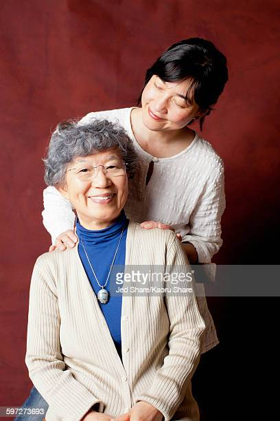 Japanese mother and daughter smiling