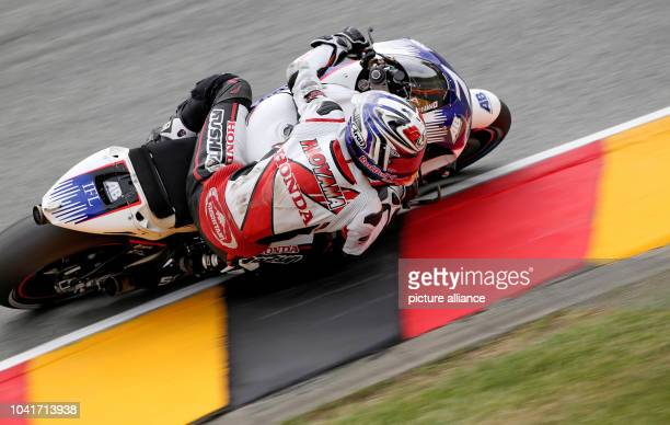 Japanese MotoGP rider Hiroshi Aoyama of AB Motoracing in action during the qualifying at the Motorcycle World Championship Grand Prix of Germany at...