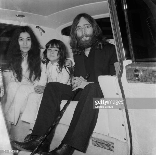 Japanese multimedia artist singer songwriter and peace activist Yoko Ono with her daughter Kyoko Chan Cox and her husband English singer songwriter...