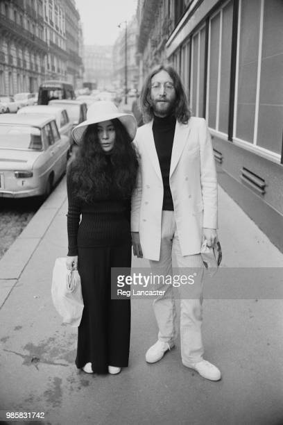 Japanese multimedia artist singer songwriter and peace activist Yoko Ono with her husband English singer songwriter and peace activist who cofounded...