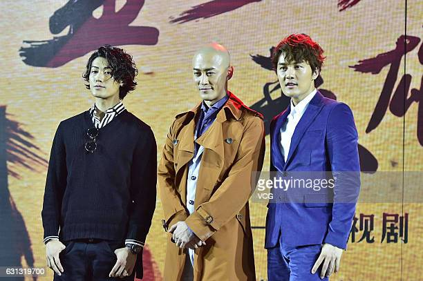 Japanese musician and actor Jin Akanishi Chinese singer and actor Raymond Lam Taiwanese singer and songwriter Kenji Wu attend the press conference of...