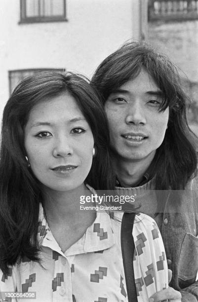 Japanese musician and composer Stomu Yamashta with his wife, violinist Hisako Yamashta, UK, 27th March 1973.