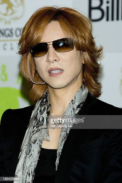Japanese musician Yoshiki of the group X Japan speaks during a press conference prior to their concert at Sheraton Seoul D Cube City Hotel on October...