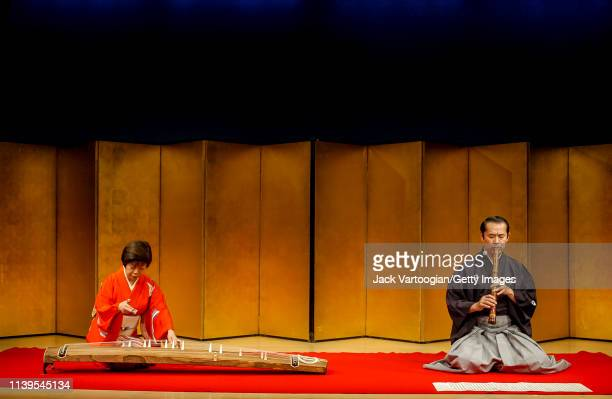 Japanese musicians Nanae Yoshimura on koto and Kifu Mitsuhashi on shakuhachi perform with the latter's ensemble at the Japan Society New York New...