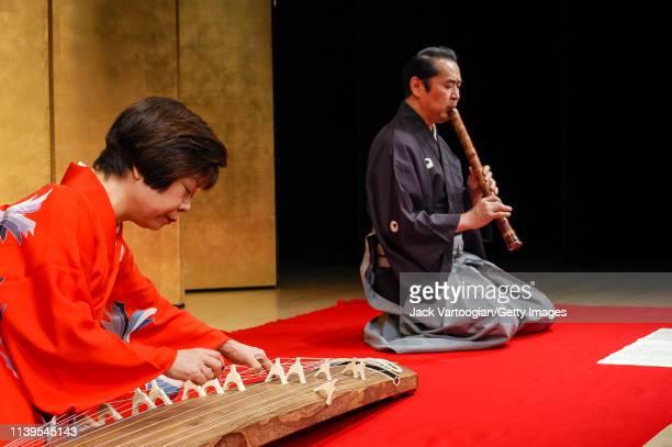 Japanese musicians Nanae Yoshimura on koto and Kifu Mitsuhashi on shakuhachi perform with the latter's ensemble at the Japan Society New York New...