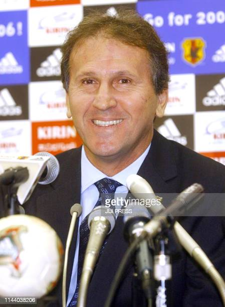 Japanese naitonal football team head coach Zico attends a news conference in Tokyo, 11 November 2002, to announce his squad for the friendly match...