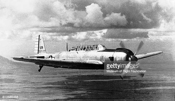 A Japanese Nakajima B6N2 torpedo bomber on a U S Army Air Force evaluation flight in mid1940's