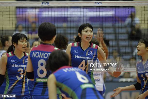 Japanese Nana Iwasaka of Hisamitsu Spring talks with her teammates during the pool match of the FIVB Womens Club World Championship Day 1 between...